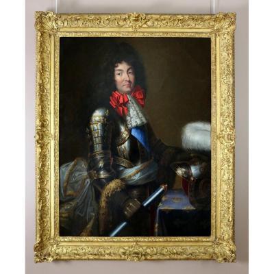 Jean Nocret (1615, 1672) Attribué. Grand Portrait De Louis XIV En Armure.