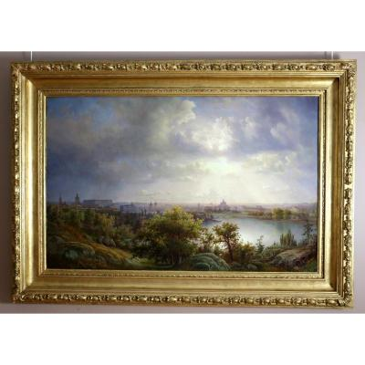 Great Panoramic View Of Stockholm And Its Surroundings, Swedish School From The 19th Century