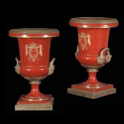 Ancien paire de vases en porcelaine et bronze doré