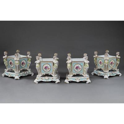 Series Of Four Sèvres Porcelain Vases