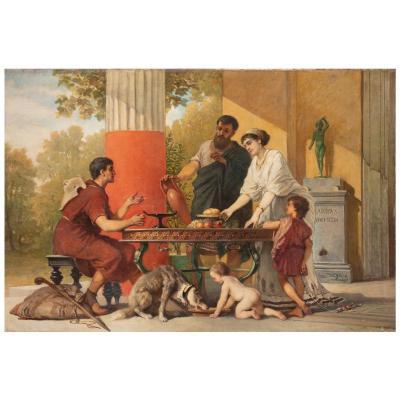"""Peinture à l'Huile Sur Toile """"L'hospitalité dans une villa à Pompéi"""" de Cesare dell'Acqua"""