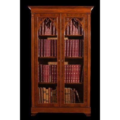 Elégant Paire De Bibliothèques Néogothiquesen Acajou