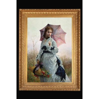 Peinture à l'huile sur toile de Pietro Vaini (Rome 1847 - New York 1875)