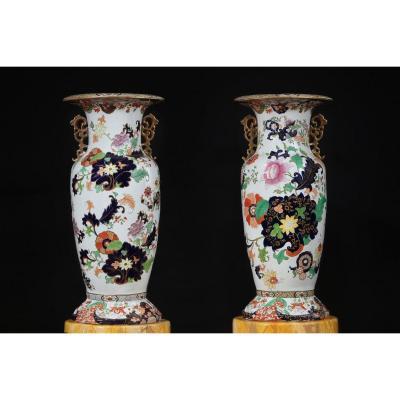Paire De Grands Vases Samson En Porcelaine Polychrome