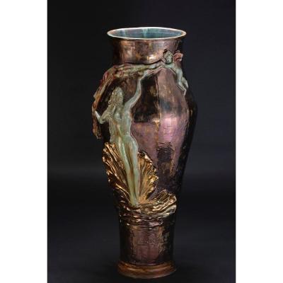 Ceramic Vase Decorated In The 50s By Federico Quatrini