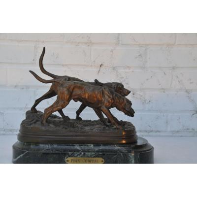 Dubucand Alfred 1828-1894 Two Hunting Dogs, Bronze On Marble Base
