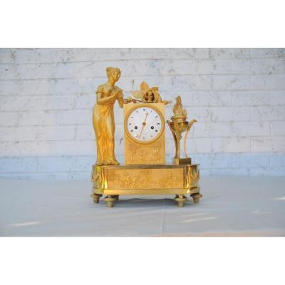 Pendule En Bronze Doré D'epoque Charles X