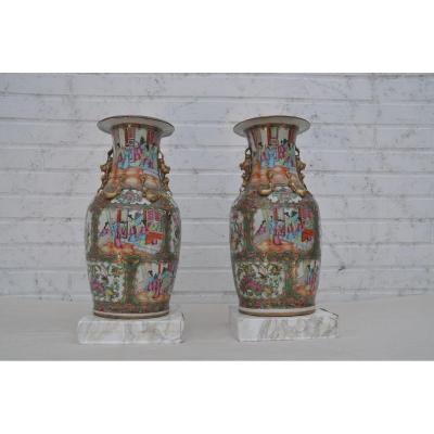 Parfaite Paire De Vases En Porcelaine De Canton