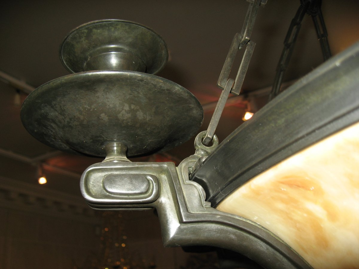 Lustre En Albâtre Et Bronze Patiné  - Début 20e Siècle-photo-3