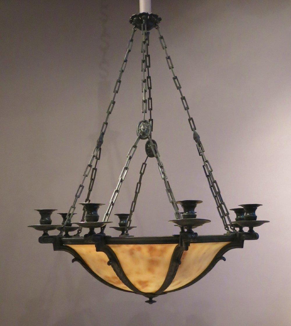 Lustre En Albâtre Et Bronze Patiné  - Début 20e Siècle
