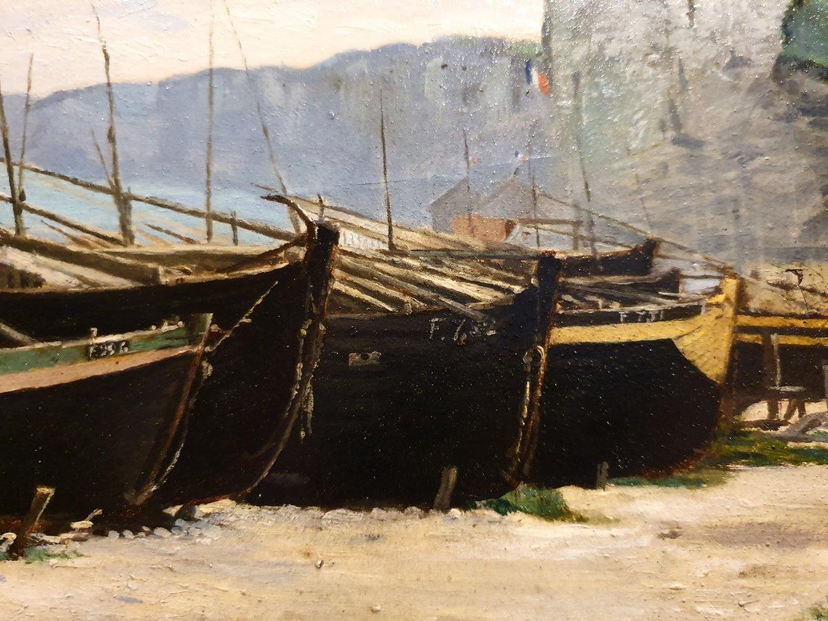 Barques Sur La Grève Signé F. Giffard-photo-2
