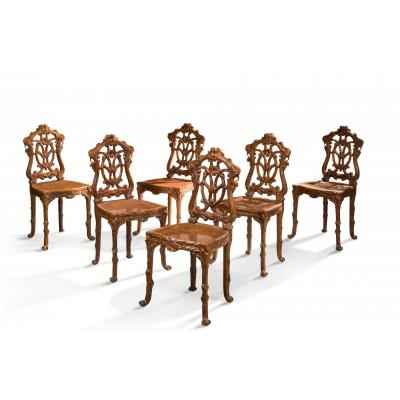 6 Chairs From The Black Forest 19th Century