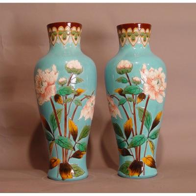 Pair Of Vases In The Taste Of Longwy
