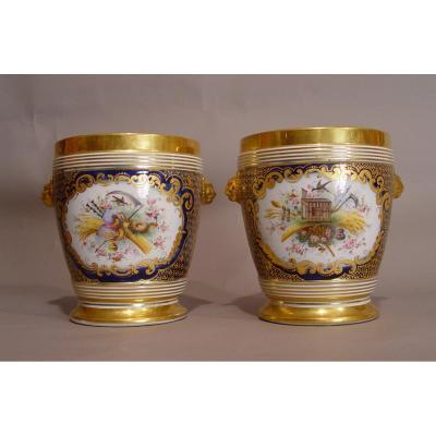Paire De Cache-pots En Porcelaine De La Fin Du 18e Siècle