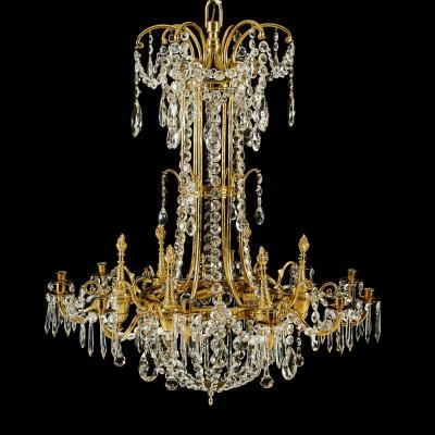 12 Light Chandelier Adorned With Baccarat Crystals - Early 20th Century