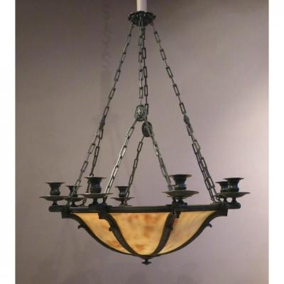 Alabaster And Patinated Bronze Chandelier - Early 20th Century