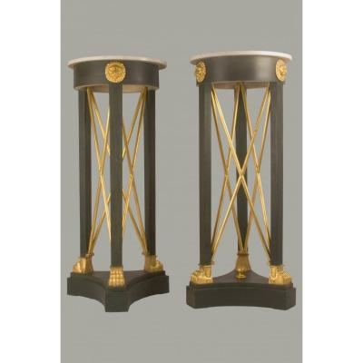 Pair Of Torchiere Holders - Around 1800