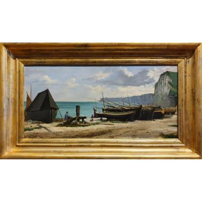 Boats On The Beach Signed F. Giffard