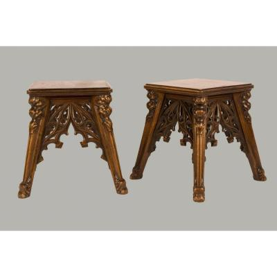 Pair Of Neo-gothic Style Stools - 19th Century