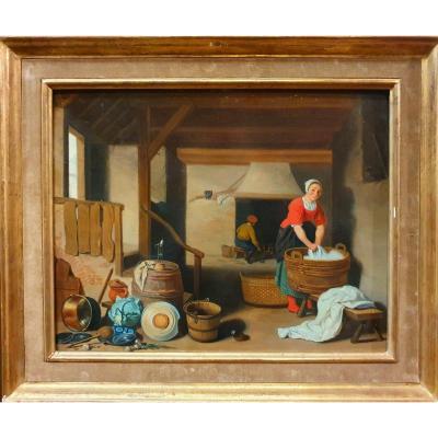 """kitchen Interior"" Attributed To Apshoven - 17th Century"