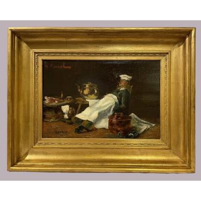"""""""le repos du cuisinier"""" signé H. Verneuil"""