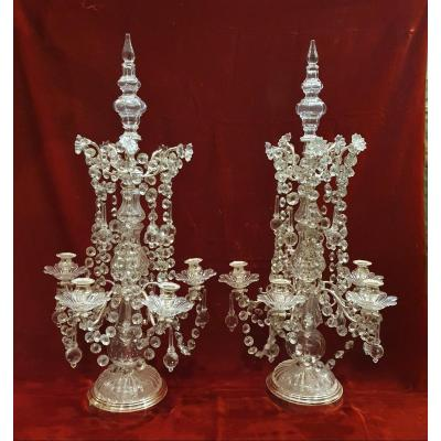Pair Of Girandoles Signed Baccarat - 20th Century