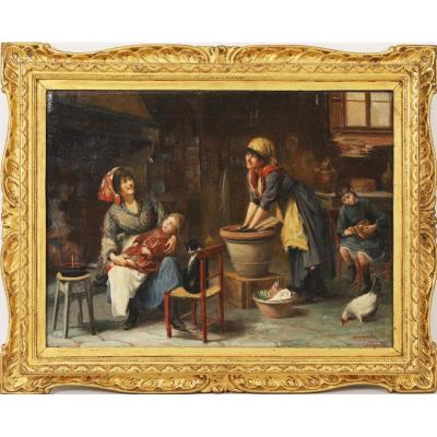 """Dans une cuisine italienne"" signé Sante Malmesi - Firenze"