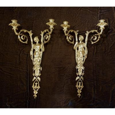 Pair Of Sconces With Caryatids And Atlanteans In The Neoclassical Taste