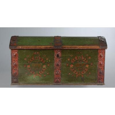 Painted Wooden Chest Dated 1830