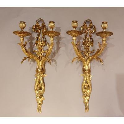 Paire d'Appliques à 2 Bras De Lumière De Style Louis XVI - 19e Siècle