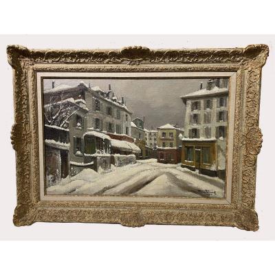 La rue Norvins à Montmartre pendant l'hiver 1945