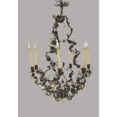 Lustre Cage De Style Louis XV Agrémenté De Fleurs En Porcelaine - XIXe Siècle