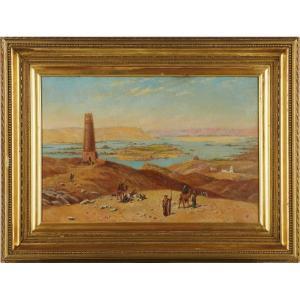 Vue Du Nil - Signé H.p - école Anglaise Vers 1880