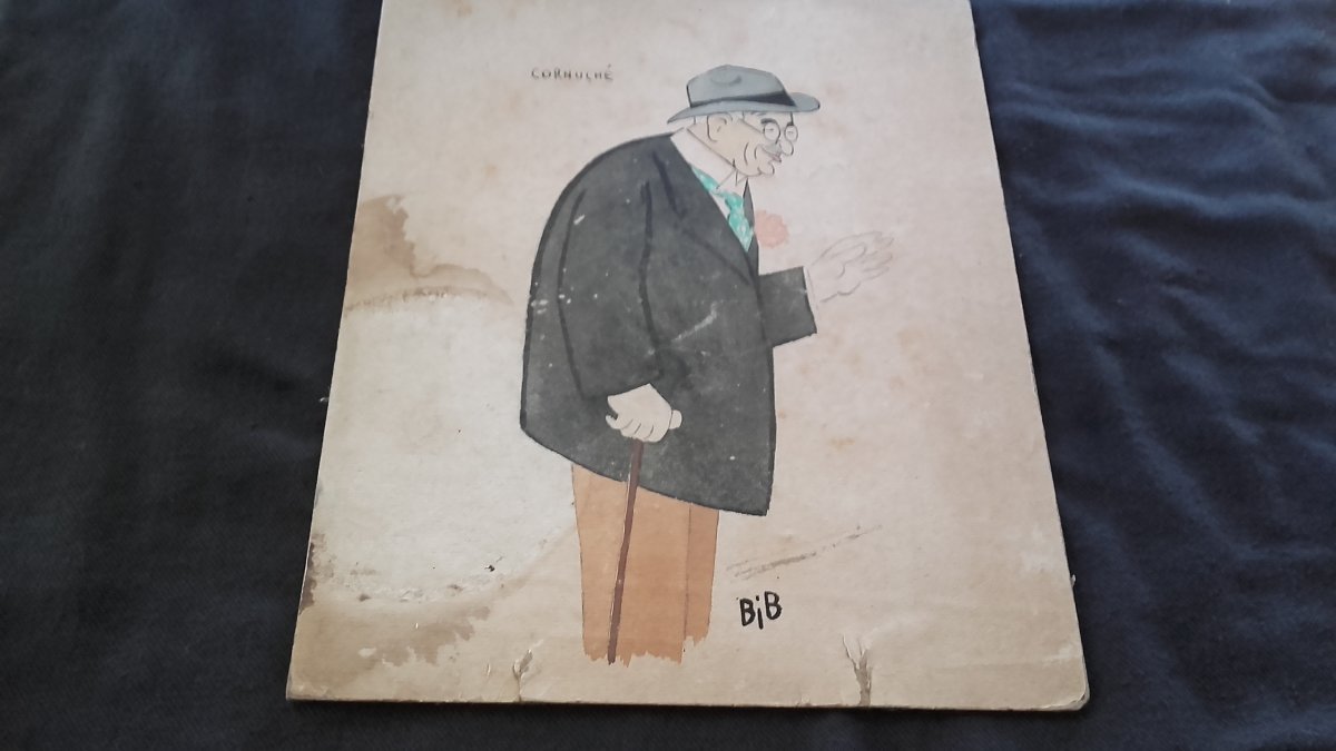 Watercolor Drawing Of Bib - Cornuché Manager Of Chez Maxim's