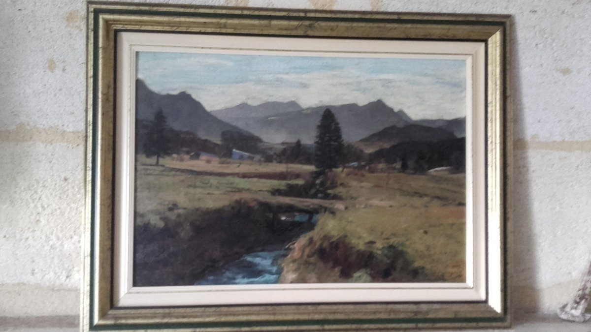 Painting By Constantin Gerhardinger - View In The Bavarian Alps