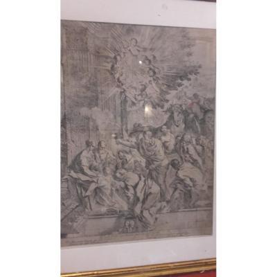 Gravure Pietro Testa - l'Adoration Des Mages XVIIe