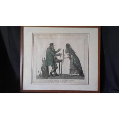 Gravure De Julien - Le Riche Du Jour Ou Le Prêteur Sur Gages fin XVIIIe