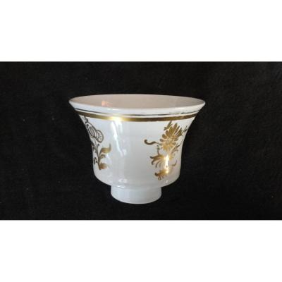 Gobelet Murano Verre Lattimo Décor Doré XVIIIe