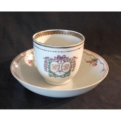 Tasse Et Soucoupe De Mariage  Porcelaine Chine Cie Des Indes XVIIIe