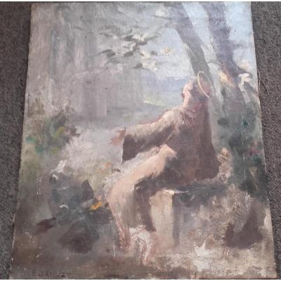 Tableau d'Emile Brunet - St François Parlant Aux Oiseaux