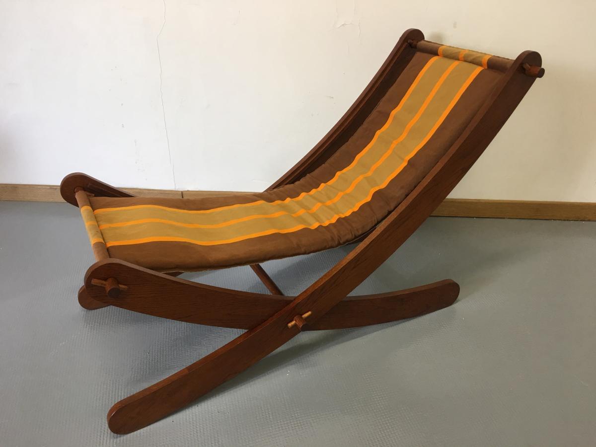 Chaise Longue En Chêne Des Années 1950.