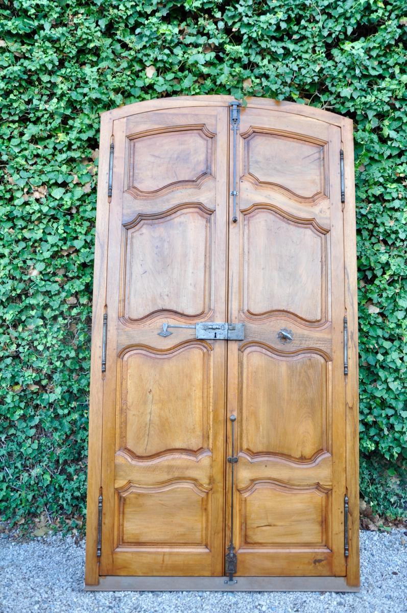 Porte ancienne De Communication Louis XV A Deux Vantaux En Noyer époque XVIII
