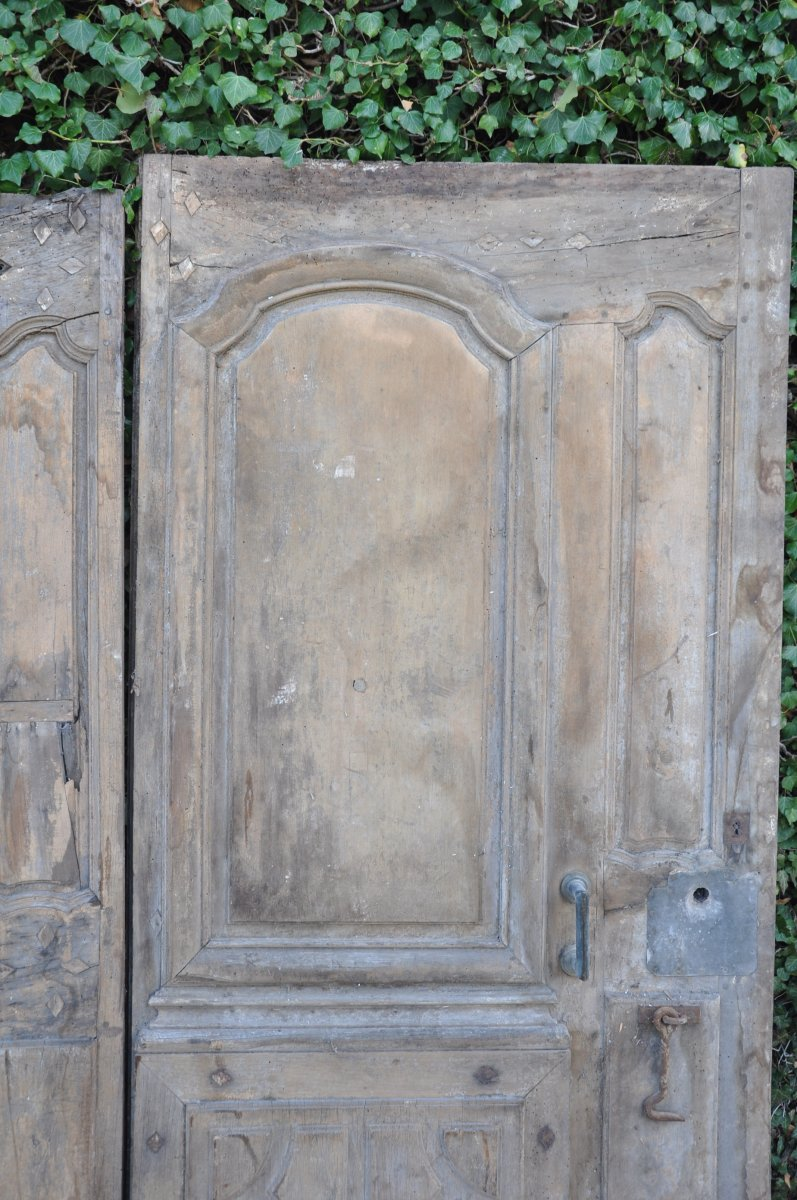Porte D'entrée Ancienne Louis XIV En Noyer -photo-2