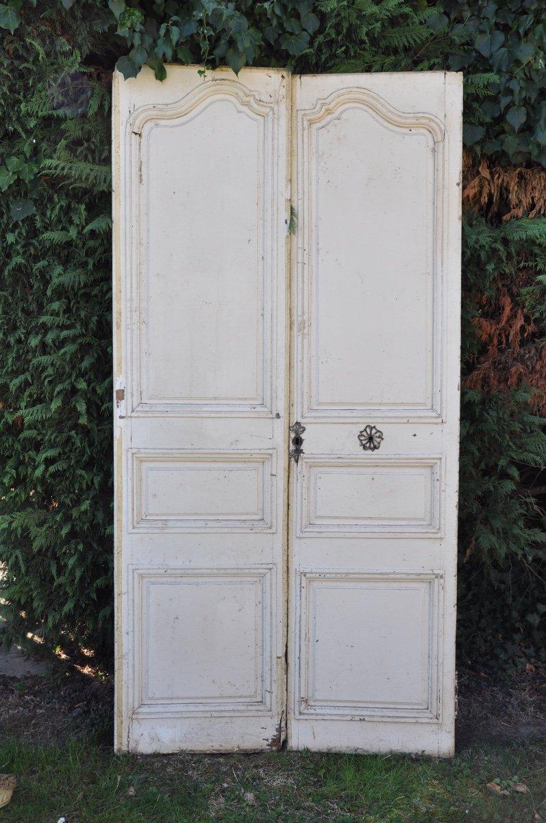 Porte Ancienne De Communication à Deux Vantaux En Noyer Louis XV