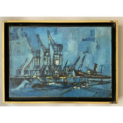 Georges Hanquet, The Cranes And The Tug On The Port.