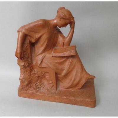 Pierre Curillont, Sculpture En Terre Cuite, Femme Lisant