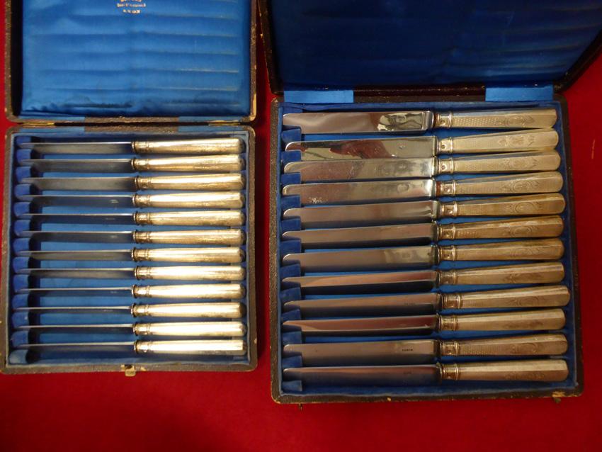 Ménagère De 24 Couteaux Montés En Argent Massif-photo-2