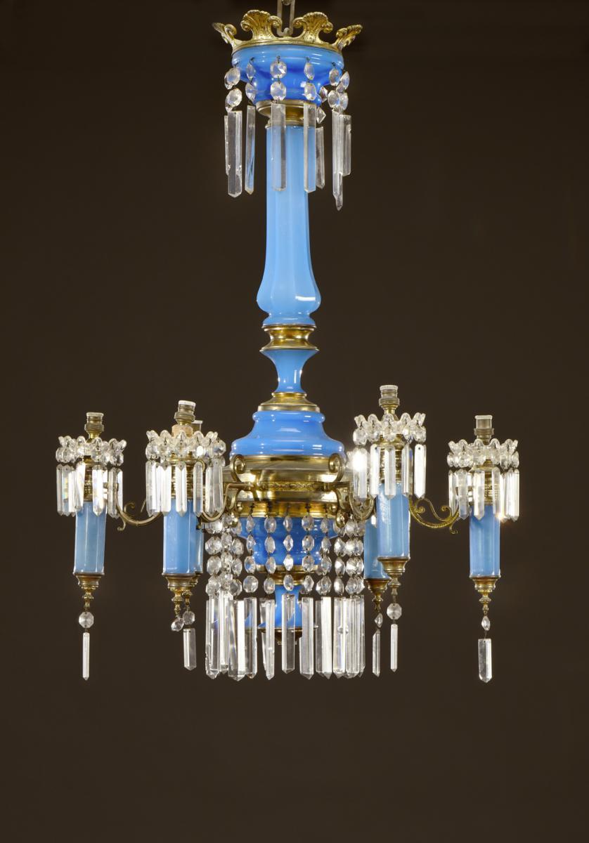 Lustre En Opaline Bleue Napoléon III
