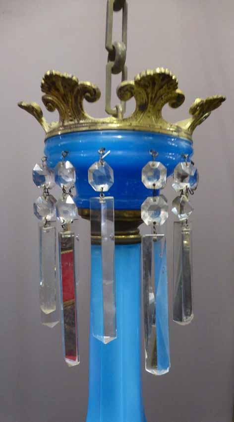 Lustre En Opaline Bleue Napoléon III-photo-2