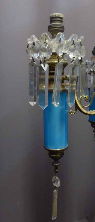 Lustre En Opaline Bleue Napoléon III-photo-3
